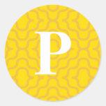 Monograma contemporáneo adornado - letra P Pegatina Redonda