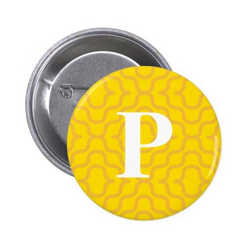 Monograma contemporáneo adornado - letra P Pins