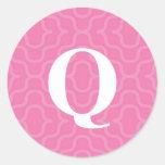 Monograma contemporáneo adornado - letra Q Pegatinas Redondas