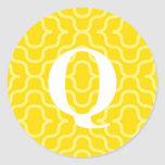 Monograma contemporáneo adornado - letra Q Etiqueta Redonda