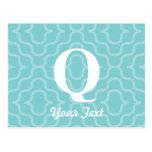 Monograma contemporáneo adornado - letra Q Postales