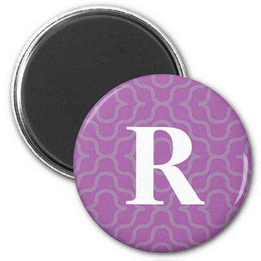 Monograma contemporáneo adornado - letra R Imanes