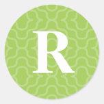 Monograma contemporáneo adornado - letra R Etiquetas Redondas