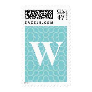 Monograma contemporáneo adornado - letra W Estampilla