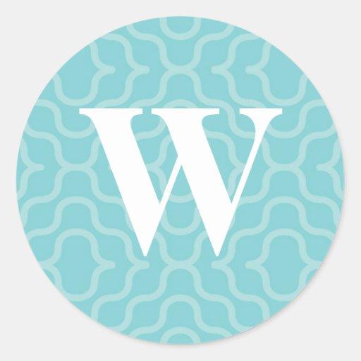 Monograma contemporáneo adornado - letra W Etiquetas Redondas