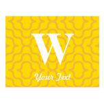 Monograma contemporáneo adornado - letra W Postal