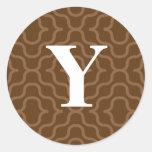 Monograma contemporáneo adornado - letra Y Etiqueta Redonda