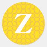 Monograma contemporáneo adornado - letra Z Pegatina Redonda