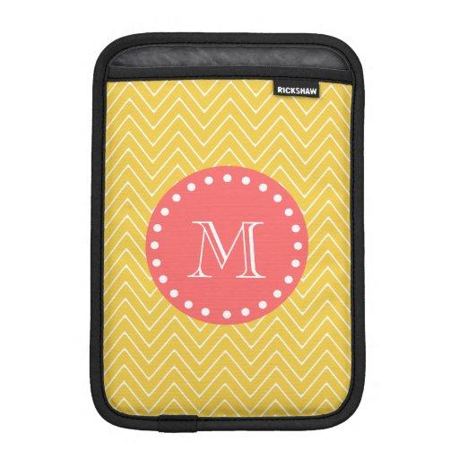Monograma coralino amarillo del modelo el | de Che Funda De iPad Mini