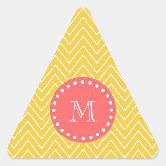 Monograma coralino amarillo del modelo el | de colcomanias trianguladas