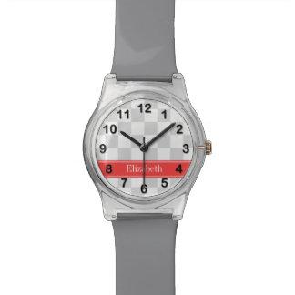 Monograma coralino de la cinta del inspector del reloj de mano