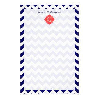 Monograma coralino de Quatrefoil del zigzag blanco Papeleria