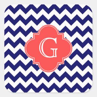 Monograma coralino de Quatrefoil del zigzag blanco Pegatina Cuadrada