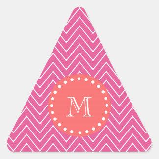 Monograma coralino del modelo el | de Chevron de Colcomanias Triangulo Personalizadas