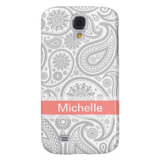Monograma coralino gris de Paisley Funda Para Galaxy S4