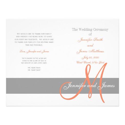 Monograma coralino gris del programa el   del boda flyer personalizado