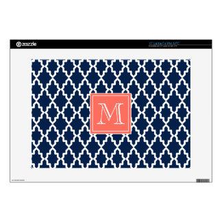 Monograma coralino marroquí de los azules marinos calcomanía para 38,1cm portátil