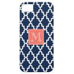 Monograma coralino marroquí de los azules marinos iPhone 5 cárcasas