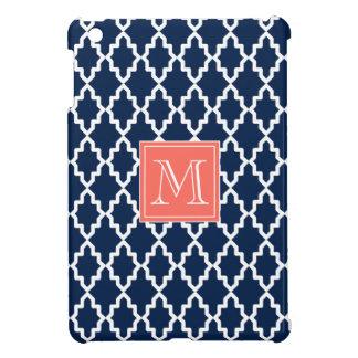 Monograma coralino marroquí de los azules marinos iPad mini fundas