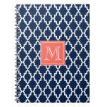 Monograma coralino marroquí de los azules marinos libros de apuntes con espiral