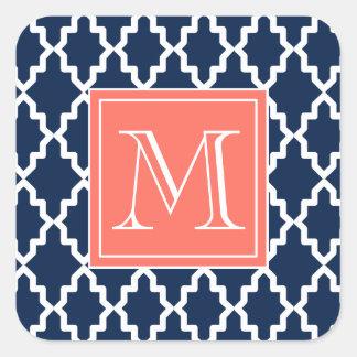 Monograma coralino marroquí de los azules marinos calcomanía cuadradas personalizada