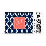Monograma coralino marroquí de los azules marinos sellos