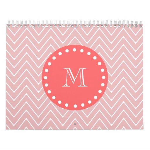 Monograma coralino rosado del modelo el | de Chevr Calendarios