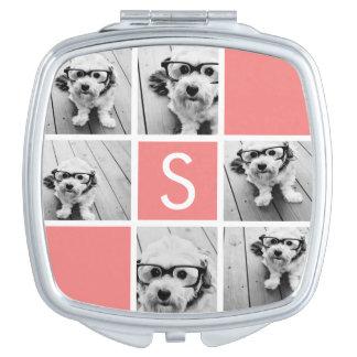 Monograma coralino y blanco del personalizado del  espejos para el bolso