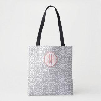 Monograma coralino y gris del personalizado de bolsa de tela