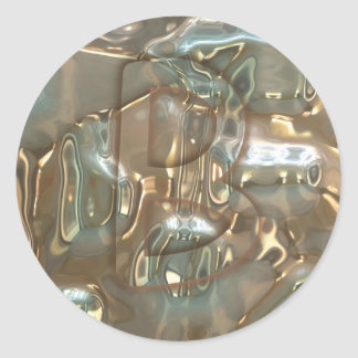 Monograma cristalino abstracto del modelo pegatina redonda