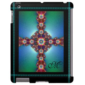 Monograma cruzado psicodélico del ~ funda para iPad