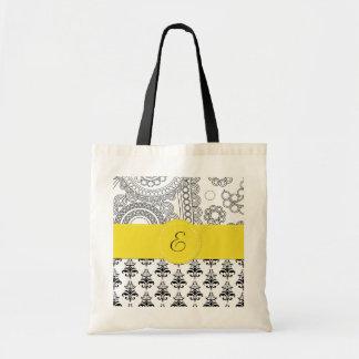 Monograma - damasco, círculos - amarillo blanco ne bolsa