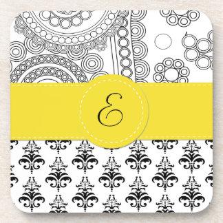 Monograma - damasco círculos - amarillo blanco ne