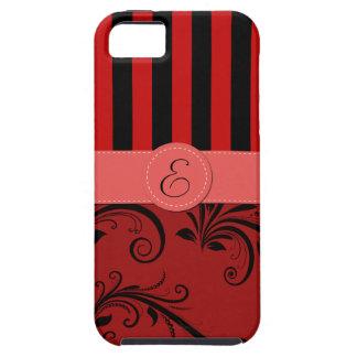Monograma - damasco, ornamentos, rayas - negro iPhone 5 cobertura