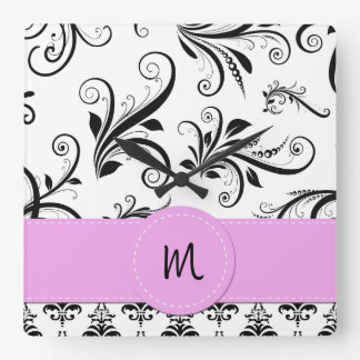 Monograma - damasco, remolinos - rosa blanco negro relojes de pared
