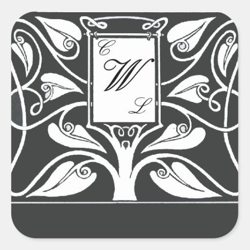 Monograma de 3 letras con las hojas blancos y pegatina cuadrada