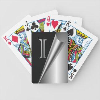 """Monograma de acero de la cáscara """"yo """" barajas de cartas"""