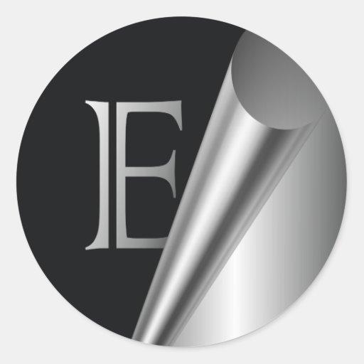 """Monograma de acero """"E """" de la cáscara Pegatina Redonda"""