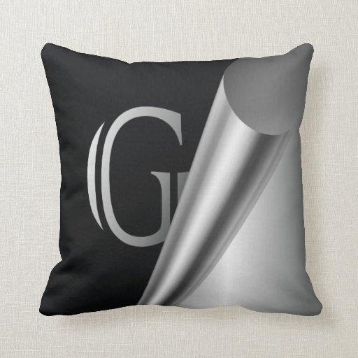 """Monograma de acero """"G """" de la cáscara Cojin"""
