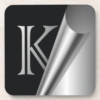 """Monograma de acero """"K """" de la cáscara Posavasos"""