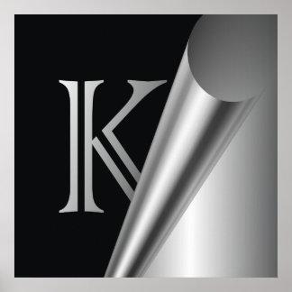 """Monograma de acero """"K """" de la cáscara Póster"""