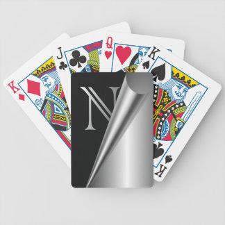 """Monograma de acero """"N """" de la cáscara Baraja De Cartas"""