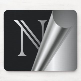 "Monograma de acero ""N "" de la cáscara Mousepad"