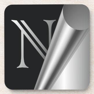 """Monograma de acero """"N """" de la cáscara Posavasos"""