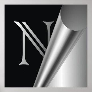 """Monograma de acero """"N """" de la cáscara Póster"""
