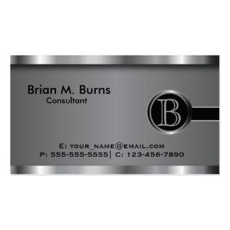 Monograma de acero negro ejecutivo tarjetas de visita
