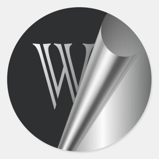 """Monograma de acero """"W """" de la cáscara Pegatina Redonda"""