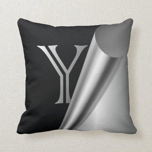 """Monograma de acero """"Y """" de la cáscara Almohada"""