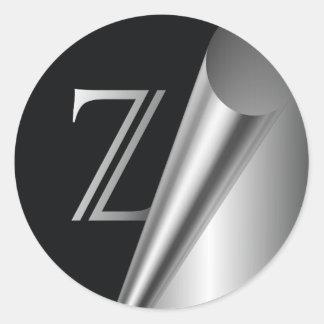"Monograma de acero ""Z "" de la cáscara Pegatina Redonda"