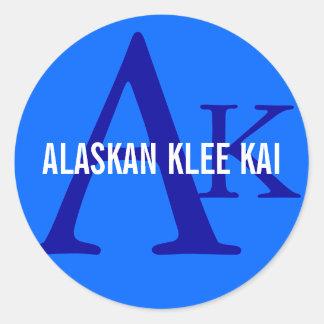 Monograma de Alaska de la raza de Klee Kai Pegatina Redonda